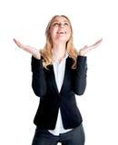 женщина дела excited счастливая стоковая фотография