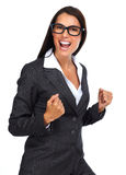 женщина дела excited счастливая Стоковое Изображение