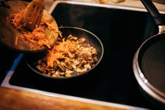 Женщина жарит грибы и морковей Варочный процесс Стоковая Фотография