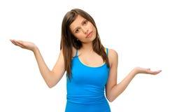 женщина жеста довольно неуверенная Стоковое фото RF