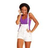 женщина живейшего мобильного телефона говоря стоковая фотография