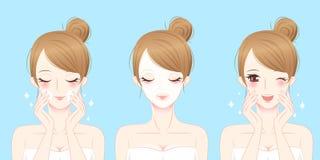 Женщина заботы кожи шаржа Стоковая Фотография