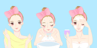 Женщина заботы кожи шаржа Стоковые Фото