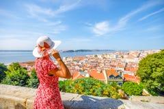 Женщина замка Лиссабона Стоковая Фотография RF