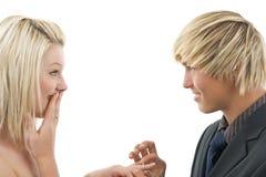 женщина запроса человека рукоятки Стоковое фото RF