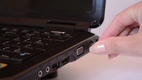 Женщина затыкает внутри кабель сети сток-видео