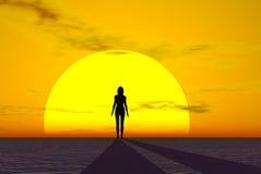 женщина захода солнца иллюстрация штока