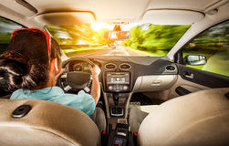 Женщина за колесом автомобиля Стоковое Изображение RF