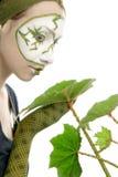 женщина зеленого завода принципиальной схемы экологическая Стоковое Изображение