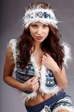 Женщина зимы взволнованности сексуальная Стоковое фото RF