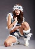 женщина зимы взволнованности сексуальная Стоковое Фото