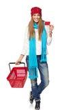 женщина зимы покупкы способа мешков Стоковое Изображение