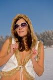 женщина зимы портрета брюнет Стоковое Изображение RF