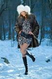 женщина зимы портрета Стоковые Изображения