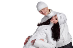 женщина зимы счастливого человека платья белая Стоковые Изображения RF