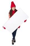 Женщина зимы с белым знаменем Стоковое Изображение