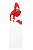 Женщина зимы с знаменем Стоковые Изображения