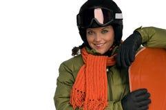 женщина зимы snowboard обмундирования ся Стоковые Изображения