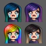 Женщина значков эмоции плача с длинными волосами для социальных сетей и стикеров Стоковая Фотография RF