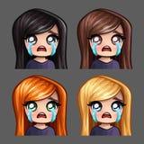 Женщина значков эмоции плача с длинными волосами для социальных сетей и стикеров Стоковое фото RF