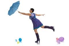 женщина зонтика летания Стоковые Изображения RF