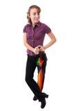 женщина зонтика радуги Стоковые Изображения RF
