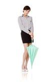 женщина зонтика удерживания дела Стоковые Изображения