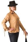 женщина зонтика шлема стоковое изображение rf