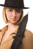 женщина зонтика шлема стоковые изображения