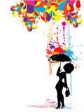 женщина зонтика иллюстрация вектора