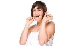 женщина зубоврачебной зубочистки стоковая фотография rf