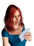 женщина играть карточек Стоковые Изображения