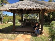 Женщина играя гавайскую гитару в саде стоковое фото rf
