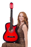Женщина играя изолированную гитару Стоковые Изображения RF