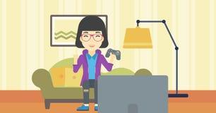 Женщина играя иллюстрацию вектора видеоигры Стоковое Изображение