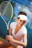 женщина играя теннис Стоковое фото RF