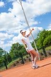 женщина играя теннис Стоковое Изображение RF