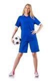 Женщина играя футбол стоковые фотографии rf