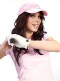 женщина игрока гольфа Стоковая Фотография