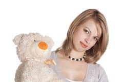 женщина игрушки медведя Стоковая Фотография RF
