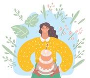 Женщина идет съесть огромный торт иллюстрация штока