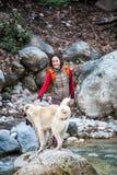 Женщина идет с 2 кавказскими собаками чабана в лесе стоковое изображение