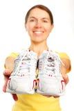 женщина идущих ботинок Стоковые Фотографии RF