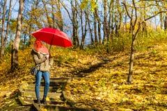 Женщина идя в парк с зонтиком Стоковая Фотография RF