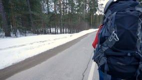 Женщина идя в съемку Steadicam леса зимы движение медленное сток-видео