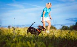 Женщина идя ее собака на луге Стоковое фото RF