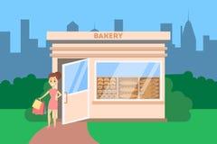 Женщина идя из магазина хлебопекарни с хлебом иллюстрация штока