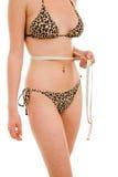 Женщина измеряя совершенную форму Стоковое Изображение RF