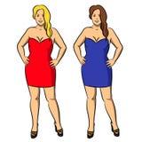 Женщина иллюстрации стильная красивая в усмехаться платья иллюстрация вектора