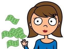 Женщина иллюстрации шаржа тратит ненужные деньги Стоковое фото RF